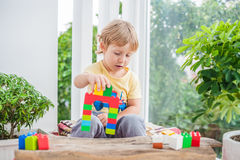 Cute little kid boy with playing with lots of colorful plastic blocks indoor. Active child having fun with building and. Creating of tower. Promotion of skills Stock Photo