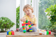 Cute little kid boy with playing with lots of colorful plastic blocks indoor. Active child having fun with building and. Creating of tower. Promotion of skills Royalty Free Stock Photography