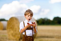Cute little kid boy in traditional Bavarian costume in wheat field. German child with hay bale during Oktoberfest in Munich. Preschool boy play at hay bales Royalty Free Stock Photos