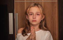 Free Cute Little Kid Is Crying. Portrait Of A Sad Child Girl 9 Or 10 Years Old. Teenager Royalty Free Stock Image - 197569196