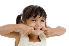 Cute Little Kid Making A Grimace Royalty Free Stock Photo