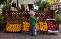 Cute Little kid picking up fruits. From Tel Aviv market stock photo