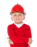 Cute little kid with red helmet Royalty Free Stock Photography
