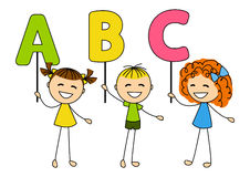 Cute little kids with ABC letters Royalty Free Stock Photography
