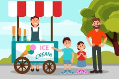 Cute little kids asking his father to buy ice cream. Dad spending time with his daughter and son in city park. Flat. Cute little kids asking his father to buy stock illustration