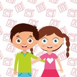 Cute little kids boy and girl embrace friends with alphabet blocks background. Vector illustration vector illustration
