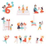 Cute little kids celebrating their birthday set, children having fun with their friends, recieving gifts vector. Illustration isolated on a white background vector illustration