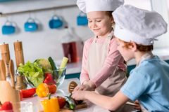Cute little kids in chef hats preparing vegetable salad together. In kitchen royalty free stock photos