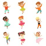 Cute little kids dancing set, modern and classical dance performed by children vector Illustrations on a white stock illustration