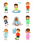 Cute little kids with different emotions set, thinking, happy, scared, angry, crying and sleepy boys and girls vector vector illustration