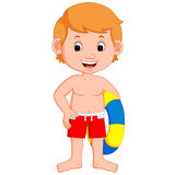 Cute little kids with inflatable circle. Cartoon Stock Images