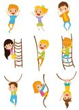 Cute little kids jumping, climbing and swinging with rope obstacles set, vector Illustrations on a white background. Cute little kids jumping, climbing and Stock Images