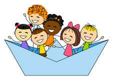 Cute little kids in paper boat. On white Stock Photos