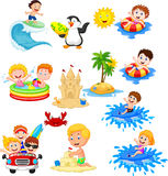 Cute little kids playing on the beach Royalty Free Stock Photo