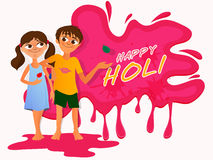 Cute little kids playing Holi. Royalty Free Stock Images