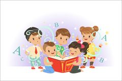 Cute little kids reading fairy tales set. Childrens dream world colorful vector illustrations. Isolated on a light blue background vector illustration
