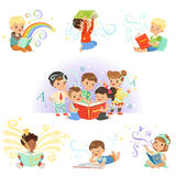 Cute little kids reading fairy tales set. Childrens dream world colorful vector illustrations. Isolated on a light blue background Stock Photo