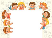 Cute little kids show a blank poster Stock Photo