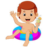 Cute little kids swimming with inflatable circle. Cartoon Stock Photo