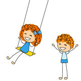 Cute little kids with swing Stock Photography