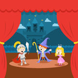 Cute Little Kids` Theater Performance Royalty Free Stock Image