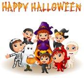 Cute little kids wearing Halloween costumes Royalty Free Stock Photo