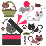 Cute little kittens set Royalty Free Stock Images