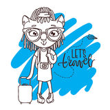 Cute little kitty in glasses with travel bag and camera.  Royalty Free Stock Photos