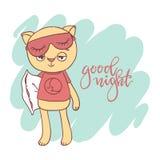 Cute little kitty. Inscription: good night. Stock Photos