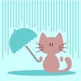 Cute little kitty with umbrella Stock Photos