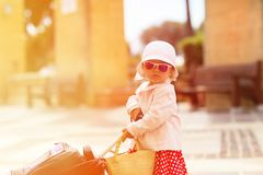 Cute little lady travelling in the city Royalty Free Stock Photos