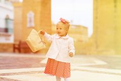 Cute little lady travelling in the city Royalty Free Stock Image