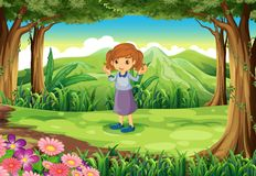 A cute little lady at the woods. Illustration of a cute little lady at the woods Stock Image