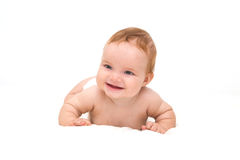 Cute little laughing crawling baby Stock Photography