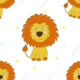 Cute little lion cartoon style. Vector pattern Stock Photography