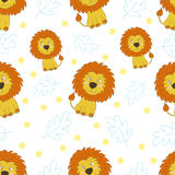 Cute little lion cartoon style. Vector pattern Royalty Free Stock Images