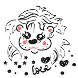 Cute little lion with love, stars and balls. Leo zodiac sign. Hand drawn isolated vector illustration. royalty free illustration