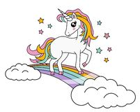 Cute Little Magic Unicorn Rainbow isolated on white, Vector Illustration. Fairy Tale Character. Fantasy Cartoon Character. Animals. And Mythical Creatures royalty free illustration