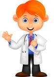 Cute little male doctor cartoon waving hand Stock Photos