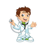 Cute little male doctor smiling Stock Image