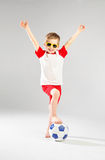 Cute little man playing soccer Stock Photography
