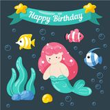 Cute little mermaid birthday card. Marine life cartoon characters in cute doodle style. Birthday card template royalty free illustration