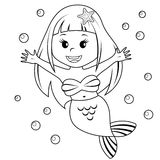 Cute little mermaid. Black and white vector illustration for coloring book Royalty Free Stock Images