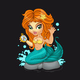 A Cute little mermaid and a compass Royalty Free Stock Photography