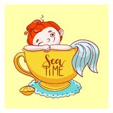 Cute little mermaid in cup. Vector illustration card. Hand drawn fairytale girl.  Stock Photos