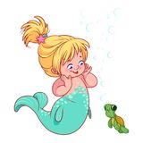 Cute little mermaid with funny turtle. Royalty Free Stock Image