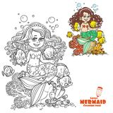 Cute little mermaid girl sits on a stone playing with fish coloring page Royalty Free Stock Photography