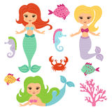 Cute little mermaid girls set. Royalty Free Stock Photo