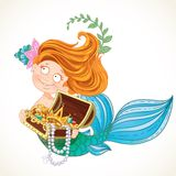 Cute little mermaid holding a treasure Chest Stock Photography