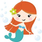 Cute little mermaid illustration isolated on white stock illustration